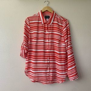 NWOT Simply Styled Blouse Red and White Large
